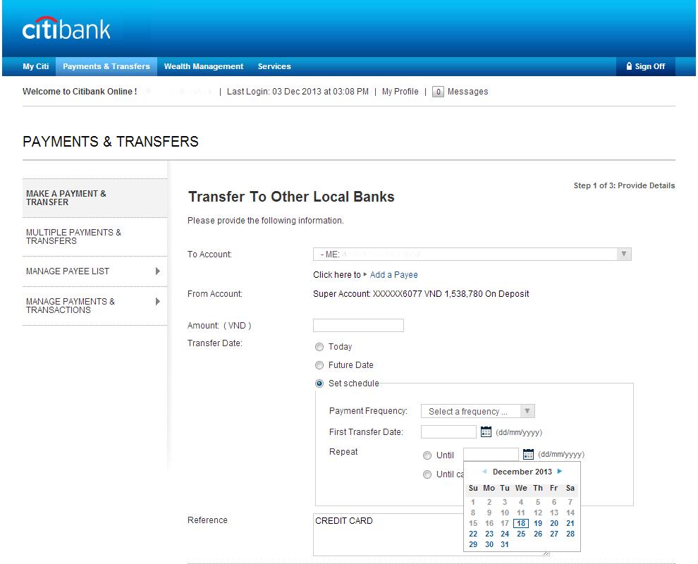 Citibank Credit Card line Registration
