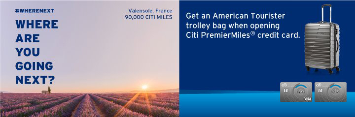 Get a Special Edition Trolley Bag 24'' Apply for Citi PremierMiles Card now!