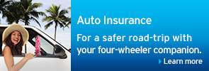 Auto Insurance For a safer road-trip with your four-wheeler companion.