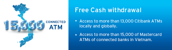 Enjoy Free Cash Withdrawal with Access to 1.9 million Citi ATMs Locally and Globally!